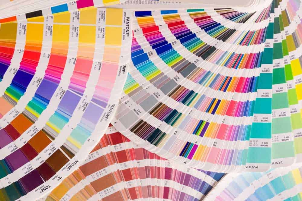 Array of color tones and hues for graphic design