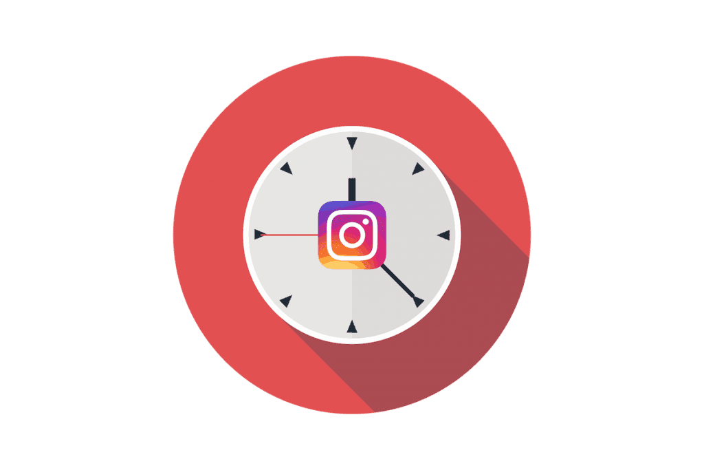 Graphic icon of clock and instagram