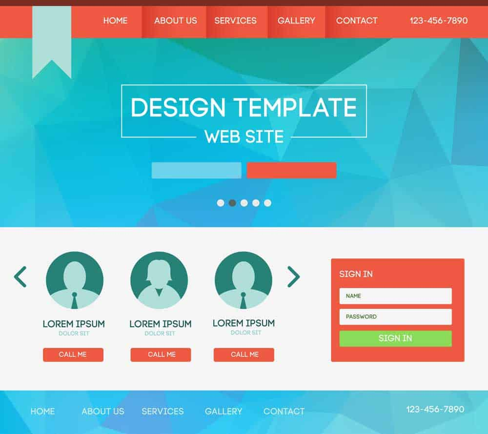 design template of landing page