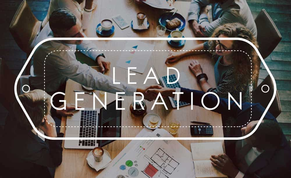 Office team discussing lead generation content