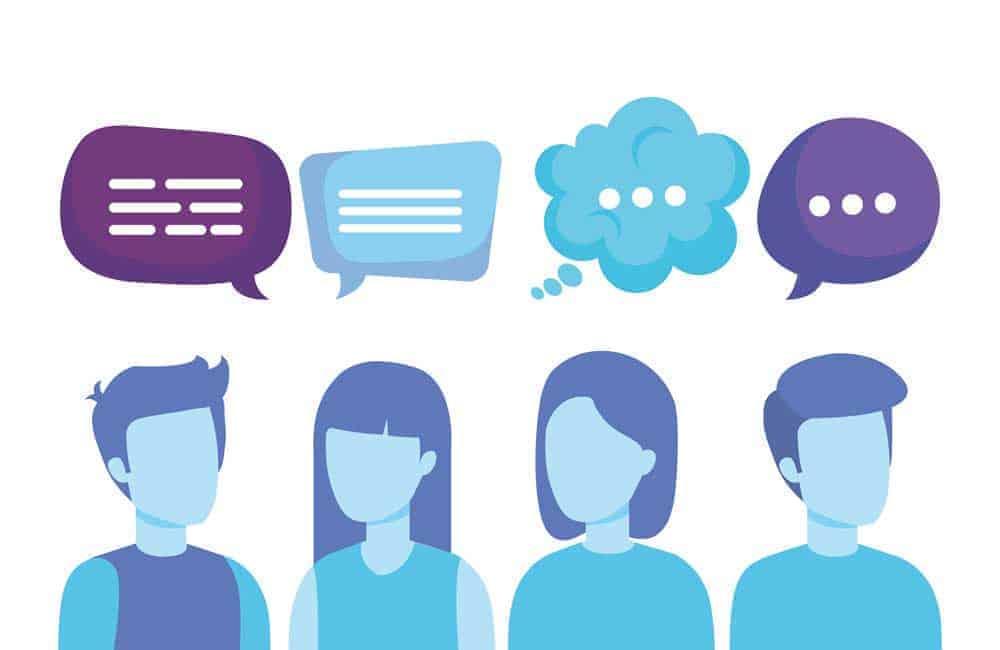 People communicating in speech bubbles