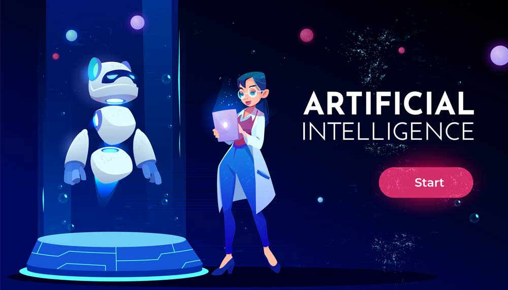 woman scientist with AI technology