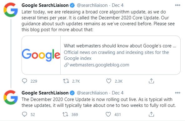 Google December 2020 core update twitter announcement